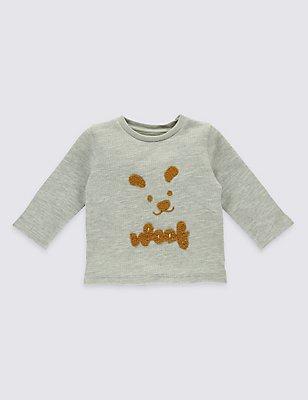 Pure Cotton Textured Applique Sweatshirt, GREY MARL, catlanding