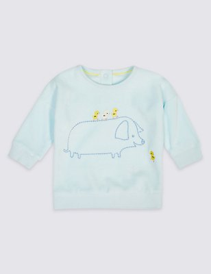 Animal Embroidered Baby Sweatshirt, LIGHT BLUE, catlanding