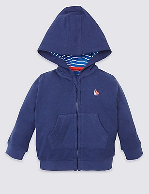 Cotton Rich Hooded Sweatshirt, BLUE MIX, catlanding