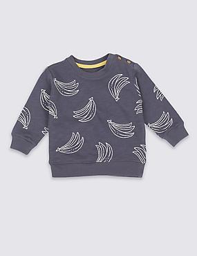 Sweatshirt van puur katoen met bananenprint, ANTRACIET, catlanding