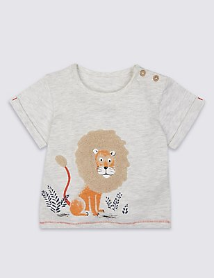 Cotton Rich Lion Applique T-Shirt, WINTER WHITE, catlanding