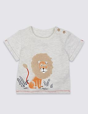 T-shirt en coton à motif lion appliqué, BLANC HIVERNAL, catlanding
