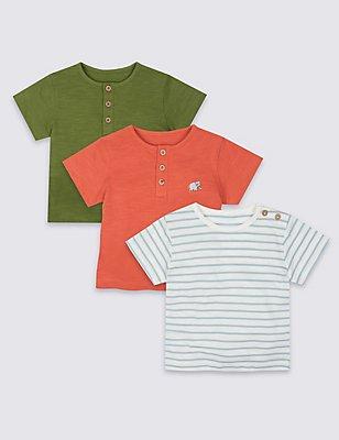 3 Pack Pure Cotton Short Sleeve Tops, ORANGE MIX, catlanding