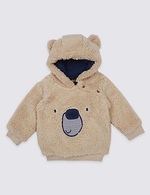 Novelty Fleece Hooded Top, BROWN MARL, catlanding