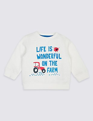 Pure Cotton Slogan Baby Sweatshirt, WINTER WHITE, catlanding