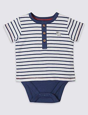 Pure Cotton Striped Bodysuit, BLUE MIX, catlanding