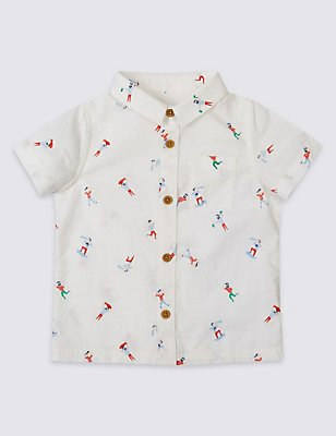 All Over Print Pure Cotton Woven Shirt, WHITE MIX, catlanding
