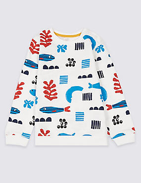 Pure Cotton All Over Print Sweatshirt, BLUE MIX, catlanding