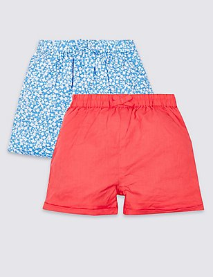 2 Pack Pure Cotton Shorts, RED MIX, catlanding