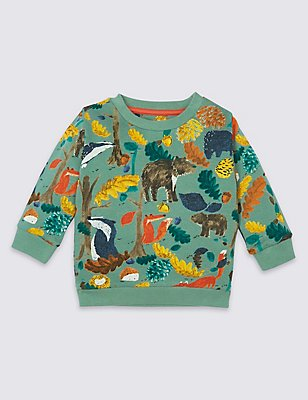 Pure Cotton All Over Print Sweatshirt, MOSS GREEN, catlanding
