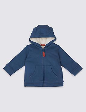 Pure Cotton Long Sleeve Hooded Top , NAVY MARL, catlanding