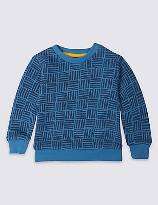Pure Cotton Geometric Print Sweatshirt, BLUE MIX, catlanding