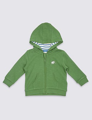 Pure Cotton Hooded Sweatshirt, KHAKI, catlanding