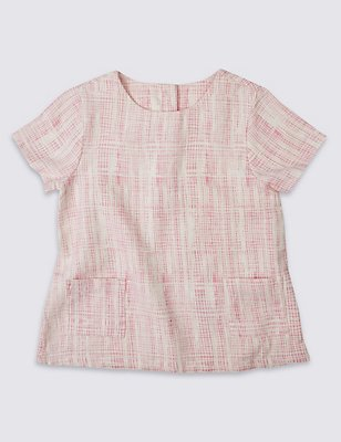 Pure Cotton Short Sleeve Checked Top, PINK MIX, catlanding