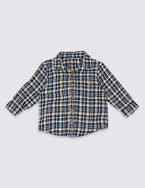 Pure Cotton Checked Shirt, DARK BLUE, catlanding