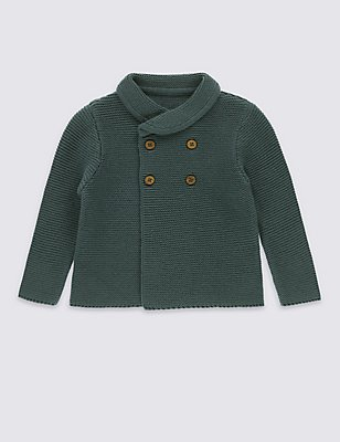 Pure Cotton Shawl Collar Baby Cardigan, TEAL GREEN, catlanding