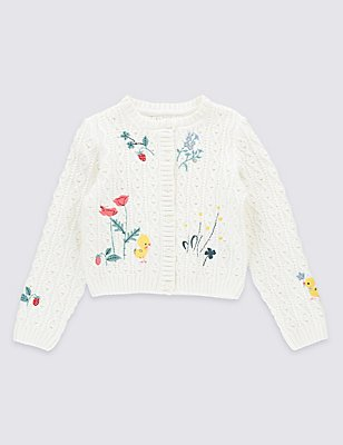 Pure Cotton Embroidered Cardigan, WINTER WHITE, catlanding