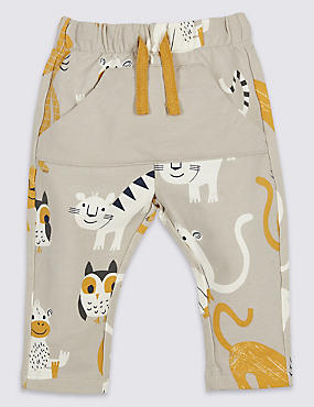 Cotton All Over Print Joggers with Stretch, GREY MIX, catlanding