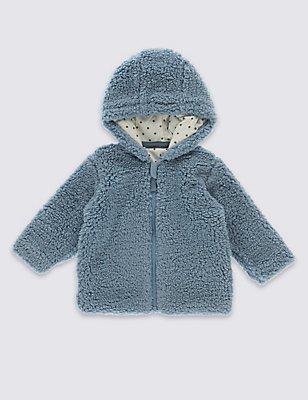 Hooded Zipped Fleece Top, CHINA BLUE, catlanding