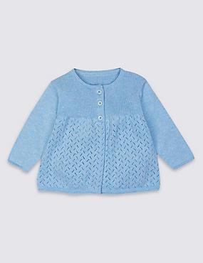 Pointelle-Strickjacke aus reiner Baumwolle, BLAU MELANGE, catlanding