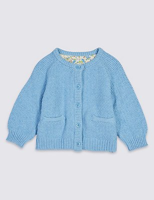 Pure Cotton Baby Cardigan, BLUE MARL, catlanding