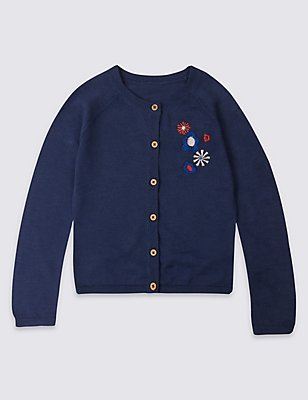 Pure Cotton Embellished Cardigan, NAVY, catlanding