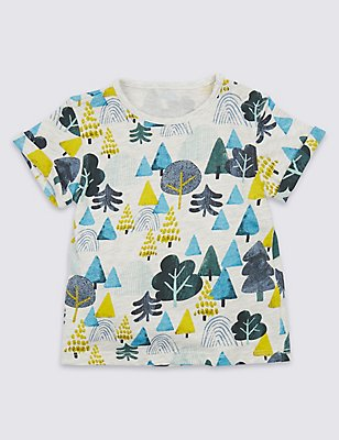 Pure Cotton Tree Print T-Shirt, MULTI, catlanding