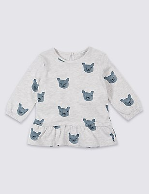 Pure Cotton All Over Print Top, GREY MARL, catlanding