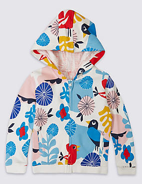 Pure Cotton All Over Print Hooded Sweatshirt, MULTI, catlanding
