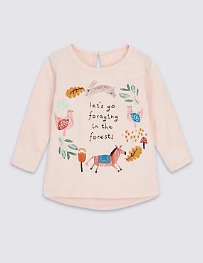 T-shirt 100% coton à ourlet plongeant et imprimé, ROSE ASSORTI, catlanding