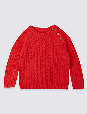 Pure Cotton Cable Knit Cardigan, RED, catlanding