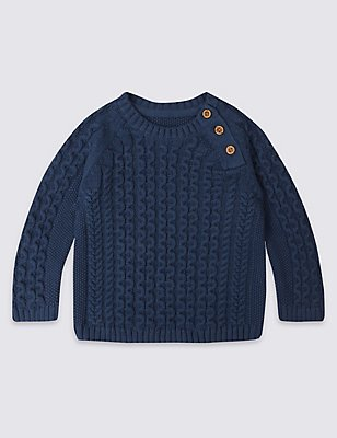 Pure Cotton Knitted Jumper, NAVY, catlanding