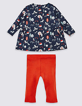 2 Piece Pure Cotton All Over Print Top & Bottom Outfit, NAVY MIX, catlanding