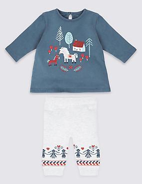 2 Piece House Print Tunic with Leggings , BLUE MIX, catlanding