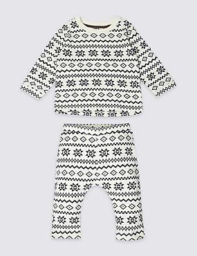 Unisex 2 Piece Pure Cotton Fairisle Outfit, GREY MIX, catlanding