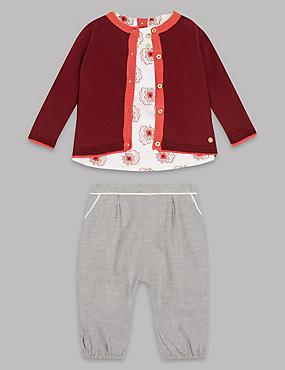 3 Piece Pure Cotton Outfit, WINTER WHITE, catlanding