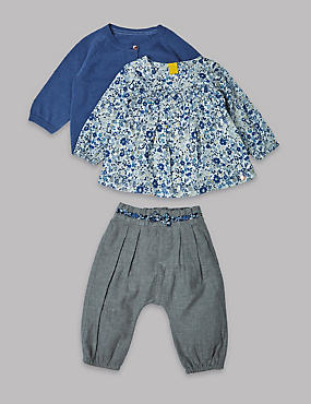 3 Piece Cardigan, Blouse & Trousers Outfit , BLUE MIX, catlanding