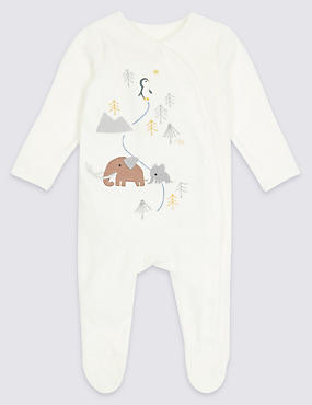 Cotton Rich Penguin Velour Sleepsuit, WINTER WHITE, catlanding