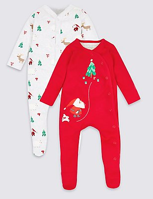 2 Pack Pure Cotton Christmas Sleepsuits, RED, catlanding