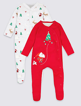 2 Pack Christmas Pure Cotton Sleepsuits, RED, catlanding