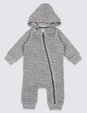 Cotton Rich Hooded All in One, MID GREY, catlanding
