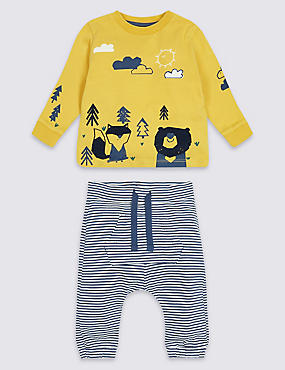 2 Piece Animal Jersey Top & Bottom Outfit, YELLOW MIX, catlanding