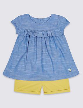 2 Piece Pure Cotton Dress & Shorts Outfit, DENIM, catlanding