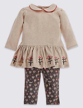 2 Piece Pure Cotton Jersey Top & Joggers Outfit, MULTI, catlanding