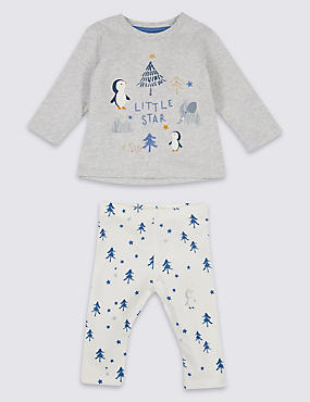 2 Piece Penguin Jersey Top & Bottom Outfit, GREY MARL, catlanding