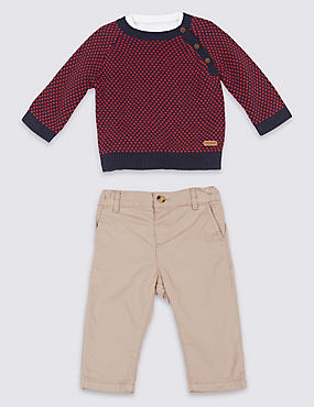 3 Piece Pure Cotton Jumper & Shirt with Trousers, LIGHT MOLE, catlanding