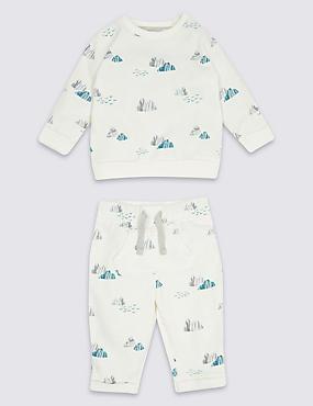 2 Piece Cotton Rich Top & Joggers Outfit, White Mix, catlanding