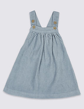 Pure Cotton Cord Pinny Dress, CHINA BLUE, catlanding