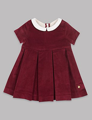 Velvet Contrasting Collar Pure Cotton Dress, DARK CLARET, catlanding