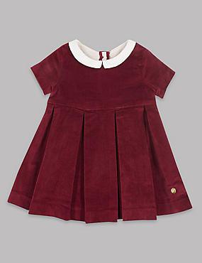 Velvet Contrasting Collar Pure Cotton Dress, DARK CLARET, catlanding